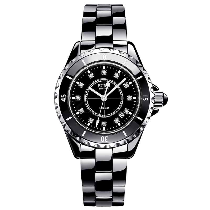 BUREI 18003 Switzerland watch women luxury brand J12 series pearl Ceramic calendar fashion diamond black relogio feminino цена
