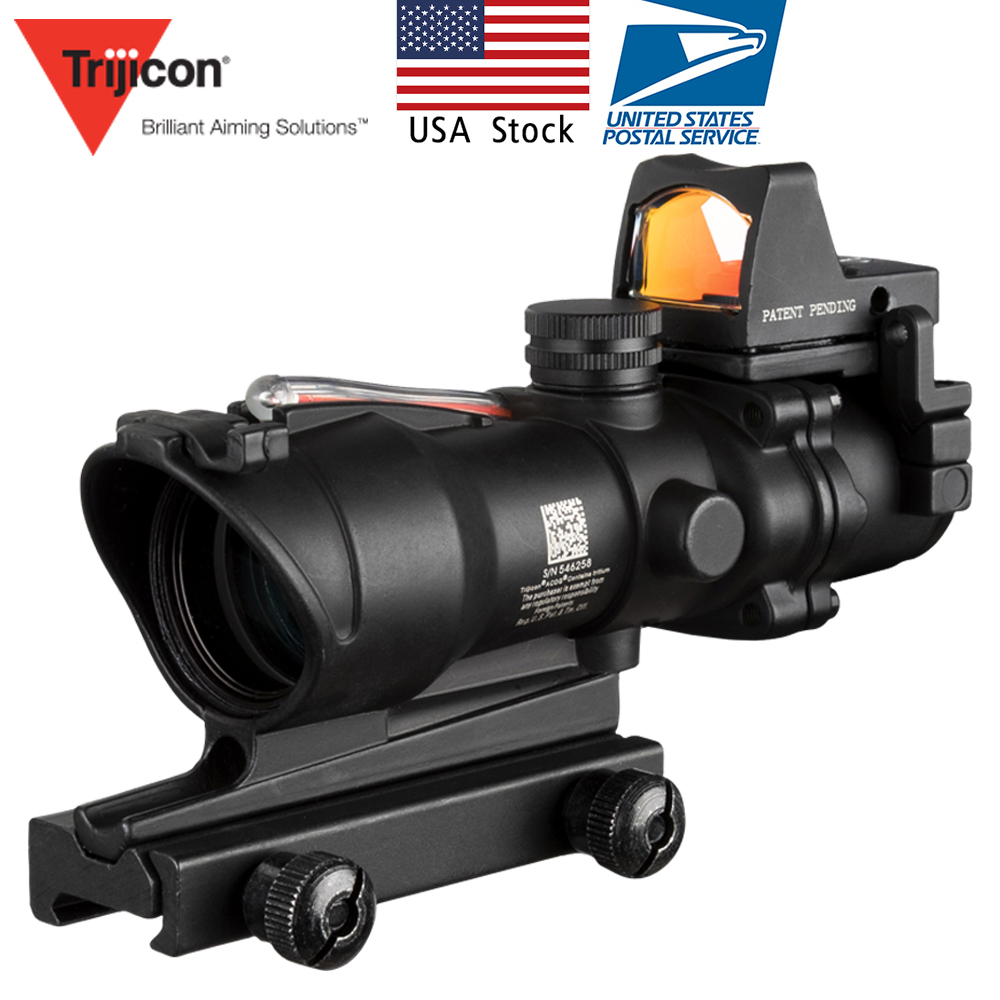 US Stock Acog 4x32 Red Fiber Source Real Fiber Scope with RMR Micro Red Dot Sight Marked Version Black Riser Optical Instrument|Riflescopes| |  - title=