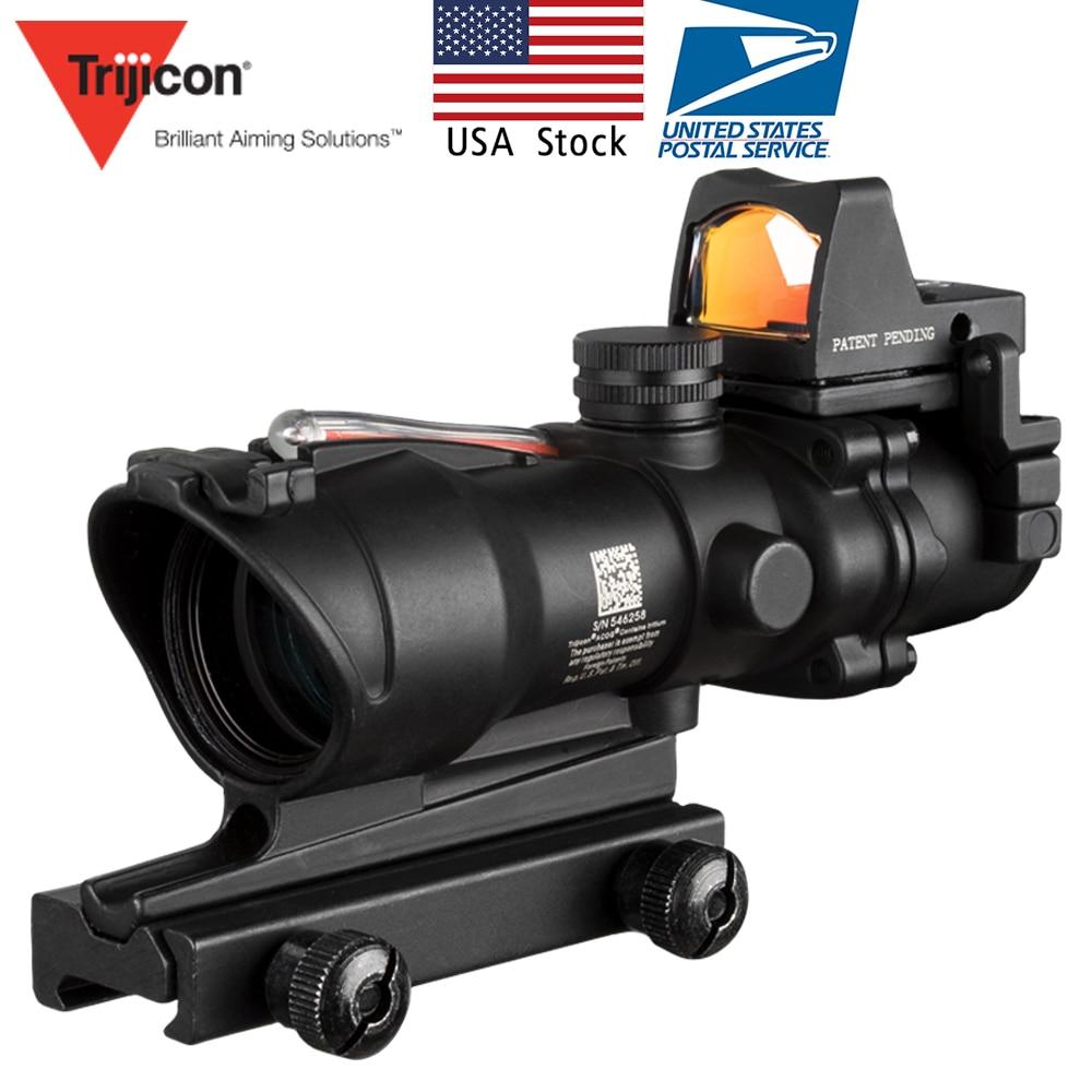 US Stock Acog 4x32 Source de Fiber rouge vraie portée de Fiber avec RMR Micro point rouge vue marqué Version Instrument optique Riser noir