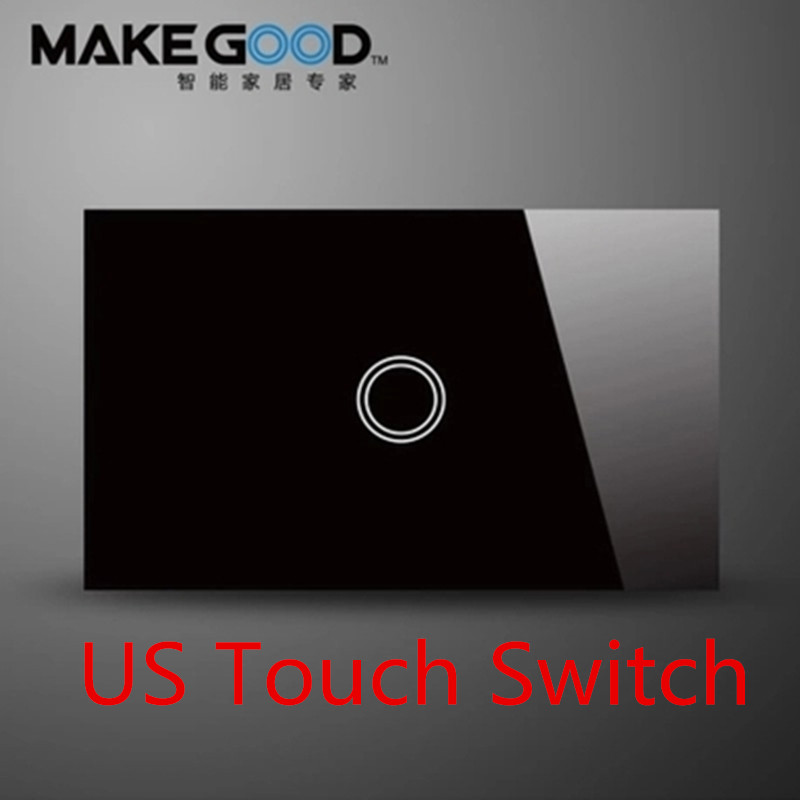 MakeGood US Standard Touch wall switch 1 gang 1 way, black and white crystal glass screen touch light switch AC 110-240V 6A