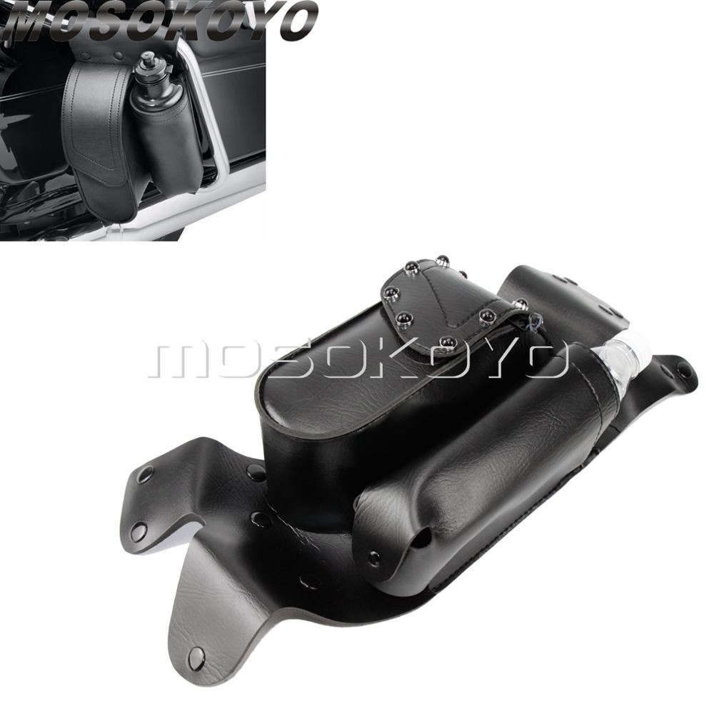 For Harley Touring Engine Guard Saddlebag Right Side Crash Bar Tool Saddle Bag w/Water Bottle Holder Road King Glide