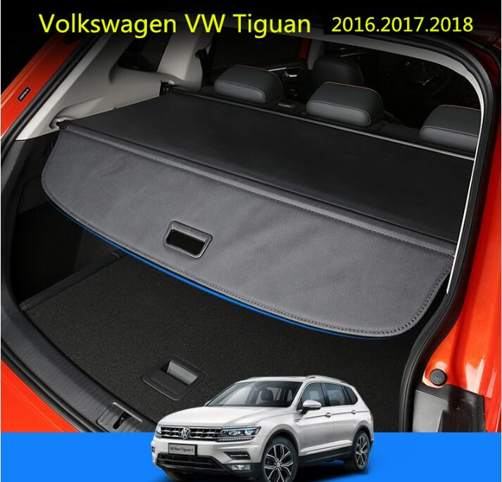 Car Rear Trunk Security Shield Shade Cargo Cover For  Volkswagen VW NEW Tiguan 2016 2017 2018 (Black, beige) car rear trunk security shield cargo cover for subaru tribeca 2006 07 08 09 10 11 2012 high qualit black beige auto accessories