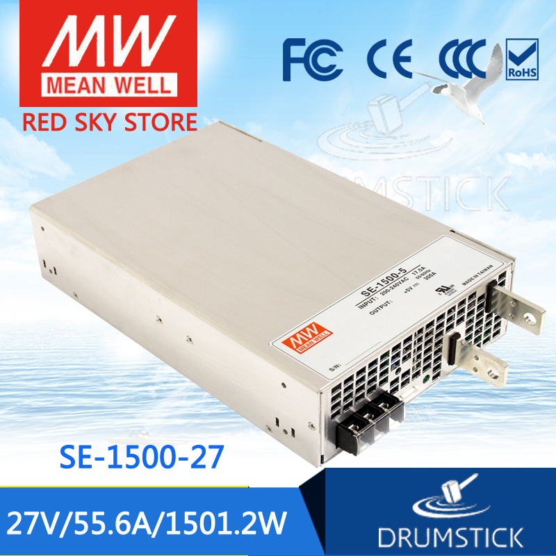 Selling Hot MEAN WELL SE-1500-27 27V 55.6A meanwell SE-1500 27V 1501.2W Single Output Power Supply best selling mean well se 200 15 15v 14a meanwell se 200 15v 210w single output switching power supply