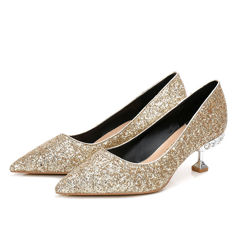 2018 Crystal Wedding Shoes Woman 5.5CM High Heels Sexy Women Glitter Silver  Diamond Shoes Pointed Toe Fashion Party Shoes K 139-in Women s Pumps from  Shoes ... e86f69c681ee