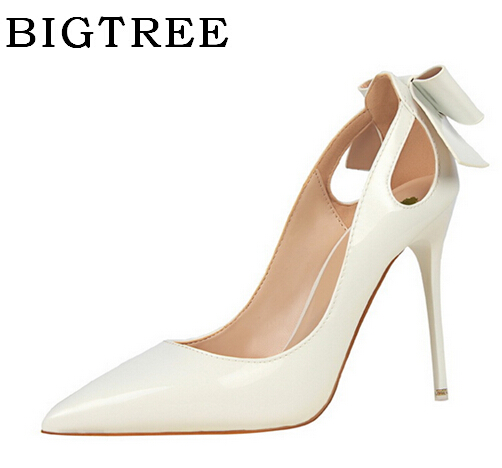 BIGTREE Spring Pumps Sexy Thin Heels High-heeled 10cm Pointed Toe Butterfly Festival Shallow Mouth Shoes Hollow,for Office Lady