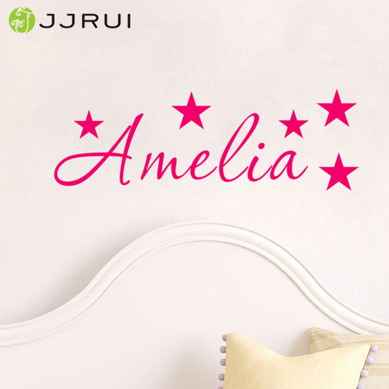 JJRUI Nombre personalizado Estrellas Wall art Sticker Mural Decal Boys Girls Childrens Home Decor Pegatinas de Pared para niños dormitorio
