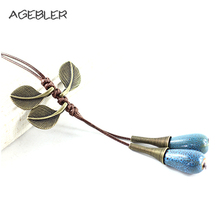 Long Ceramic Necklace For Women Sweater Chain Handmade Tassel Jewelry Boho Necklaces & Pendants With Leaf green Red Blue