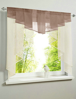 Valance Style Pleated Design Beige Main Body Color Tulle Balcony Kitchen Window Curtain One Set