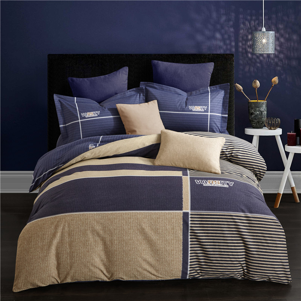 2018 Tan Blue Plaids Men Bedlinens Winter Thick Bedding Set Sanding Cotton Brushed Queen King Size Duvet Cover Set Pillowcases