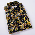 Hot Sale Size: M-5XL / 2017 New Fashion Floral Print Slim Fit Shirts Men's Long Sleeve Casual Dress Shirts 8 Colors