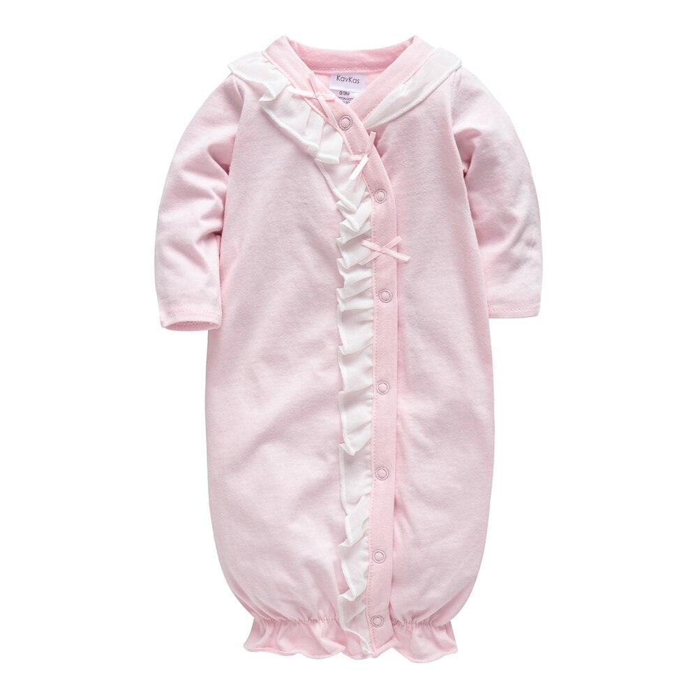 2018 Warnen Baby Mädchen Schlafen Tragen Kleidung Winter 100% Weiche Baumwolle Baby Licht Rosa Strampler Langarm Neugeborenen Pyjama Nachthemd