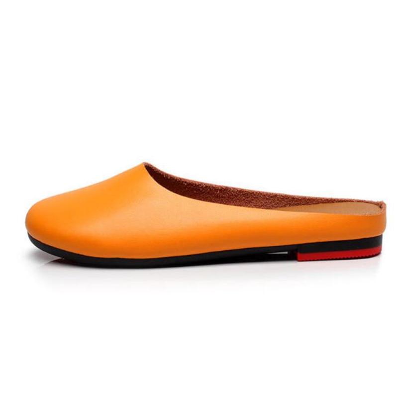 Chaussures 2 Plus Casual Non Femmes 1 Mode Véritable Pantoufles Taille À K46 Cuir La Air 5 slip Plates 4 En 43 Plein 34 6 3 Pois Main BBOvarx