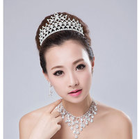 Water Linger Punctuate Great Happiness Luxury Full Crystal Hoop Crown Bride Crown Headdress Accessories