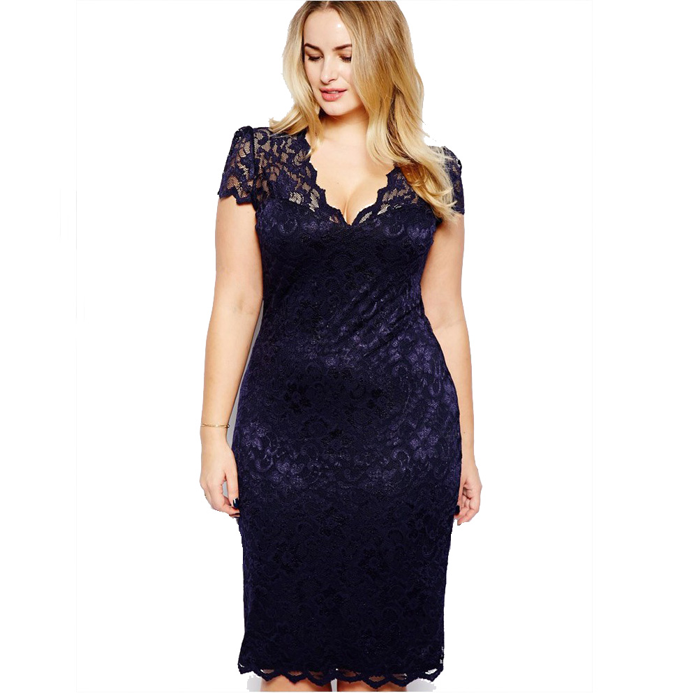 <font><b>Vestidos</b></font> <font><b>De</b></font> <font><b>Renda</b></font> Feminino 2019 Spring Women Dress <font><b>Sexy</b></font> Lace Stitching Dresses <font><b>Bodycon</b></font> Lady Slash V-Neck Knee-length Dress image