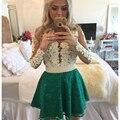 Mujer encantadora Vestido de Cóctel de Encaje Verde Por Encargo Sexy Una Línea de Perlas Vestidos de Fiesta con Mangas Largas