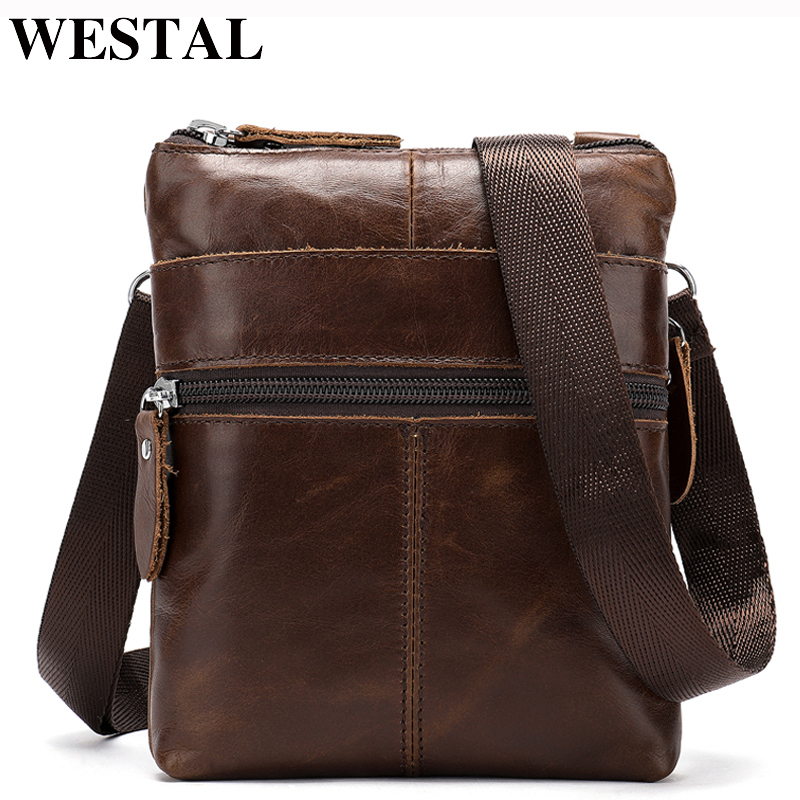 WESTAL Men Shoulder Bags For Men Men's Genuine Leather Bag Mini Crossbody/Messenger Bag Men Leather Flap Small Bags Male 2222