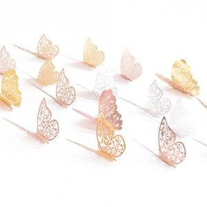 Image 5 - 12 pièces 3D creux papillon autocollant mural pour la décoration de la maison bricolage Stickers muraux pour enfants chambres fête mariage décor papillon réfrigérateur