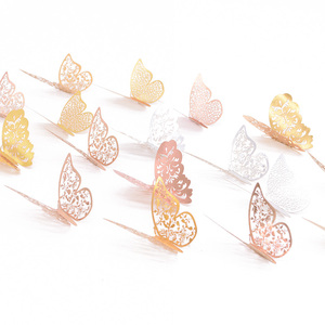 Image 5 - 12Pcs 3D Hollow Butterfly Wall Sticker For Home Decoration DIY Wall Stickers For Kids Rooms Party Wedding Decor Butterfly Fridge