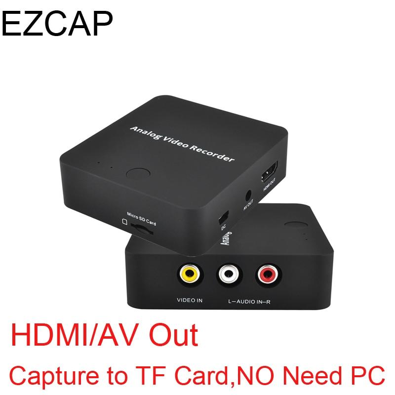 Analógica AV grabadora viejo vídeo videocámara de cinta VHS DVD, VCR, DVR 8mm Hi8 de captura de vídeo HDMI a formato digital A TF tarjeta NO hay necesidad de PC