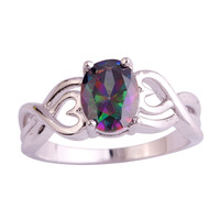 lingmei Wholesale Stylish Sexy Oval Cut Mysterious Rainbow Topaz 925 Silver Ring Size 6 7 8 9 10 Free Shipping Women Men Rings