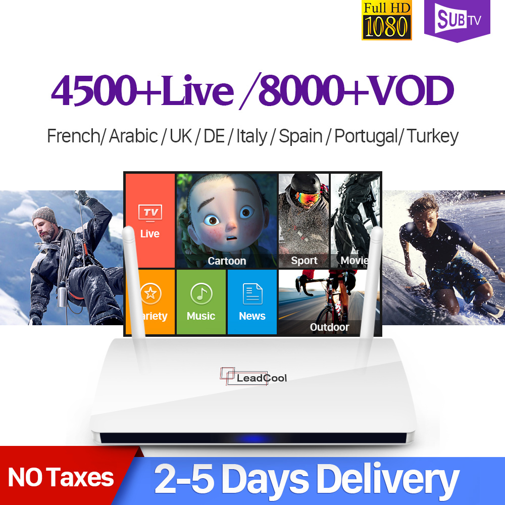 French Arabic IPTV Box Leadcool Android IP TV Box SUBTV Code IPTV 1 Year Subscription Dalletektv Turkish Europe Arabic IPTV Box best french iptv dalletektv leadcool smart tv android iptv box europe swedish arabic 2500 channels 1 year iudtv iptv stb box