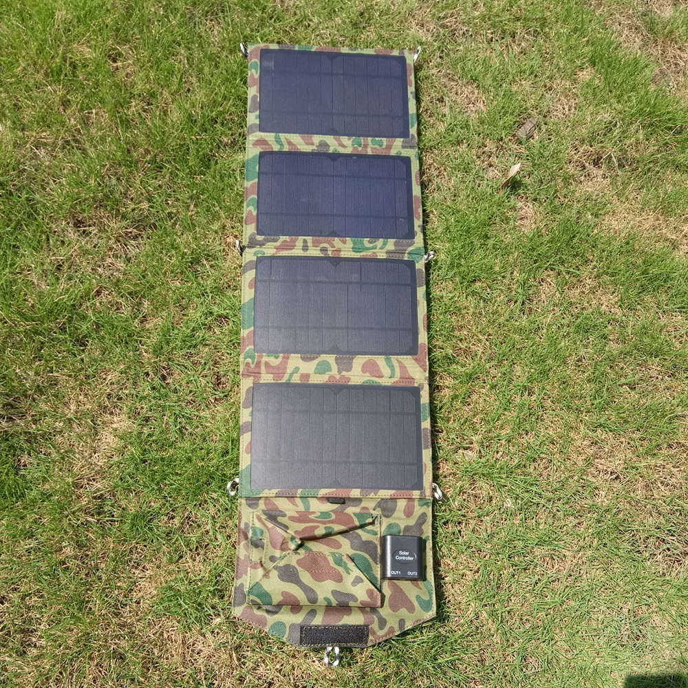 14W Foldable Solar Panel Mobile Power Bank for Phone Battery Charger Dual USB Port High Efficiency Waterproof Solar Panel 5500mah solar charger 5v 0 8w beetle shaped phone mobile power bank