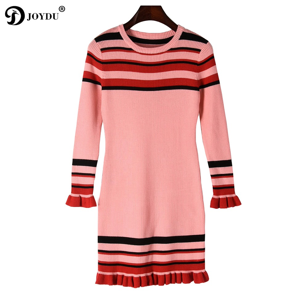 2018 New Winter Dress Fashion Design Ruffles Long Sleeve Pink Black Bandage Office Lady Chic Party Dresses Knitted Sweater Dress