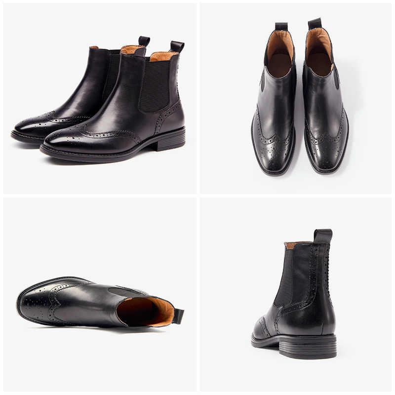 Chelsea çizmeler kadın Brogue çizme BeauToday marka hakiki deri Wingtip kalite dana derisi ayak bileği ayakkabı el yapımı artı boyutu 03026
