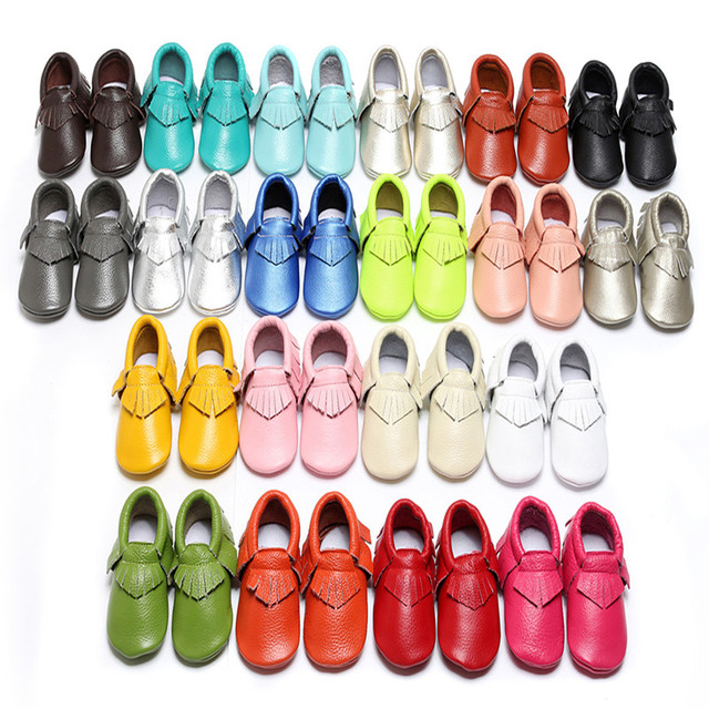 2016 New Soft Sole Genuine Leather Baby Girl Boy Fringe First Walkers Newborn Moccasins Infant Toddler Shoes 0-30M