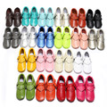 2016 Nuevo Soft Sole Primeros Caminante Newborn Baby Girl Boy Franja de Cuero Genuino Mocasines Zapatos Infantiles Del Niño 0-30 M