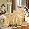 Beige 6 unid/4 unid jacquard juegos de cama de matrimonio king size cover set Tejido de mezcla de Algodón de Seda de lujo ropa de cama