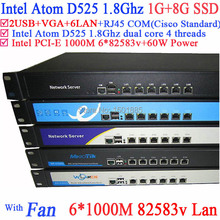 Intel Atom D525 dual core 4 thread Home network router with ROS PFSense Panabit Wayos support