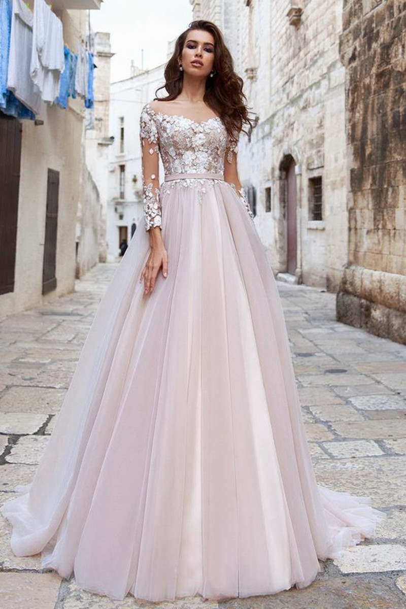 A Line Three Quarter Sleeve Wedding Dresses 2019 Illusion Appliques Lace With Tulle Bridal Gowns Elegant Summer vestido de noiva in Wedding Dresses from Weddings Events
