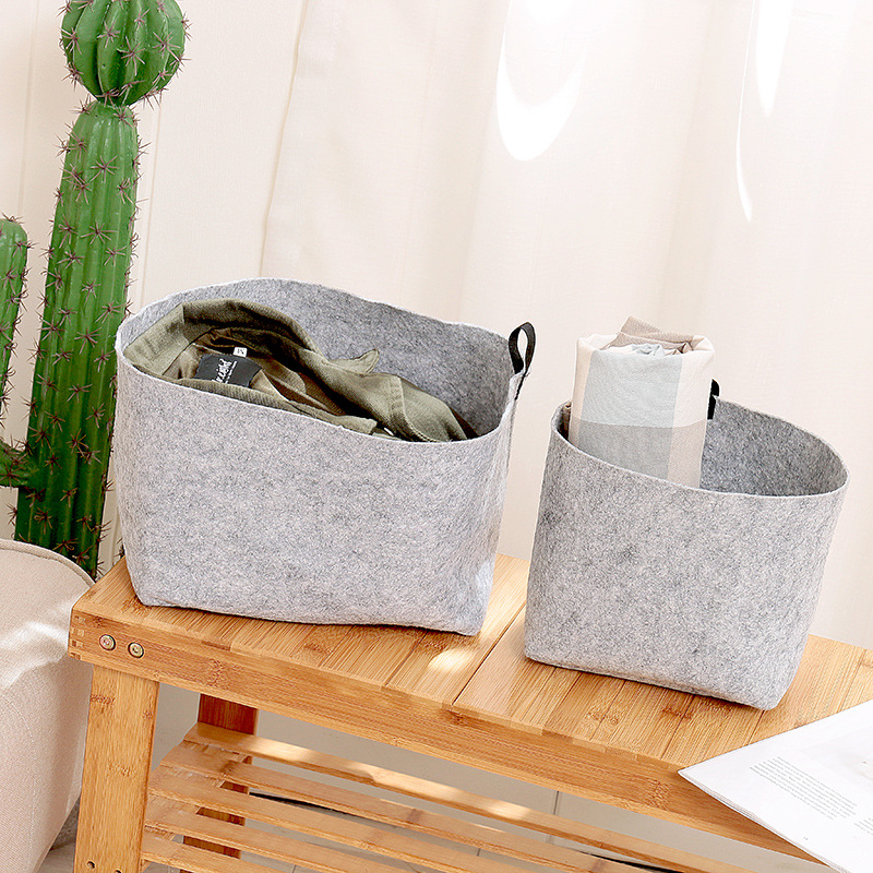 AIYOWEI@YW Felt Cloth Folding Desktop Organizer Makeup Clothes Neatening Storage Basket Convinence Holder Cosmetic Toy S090