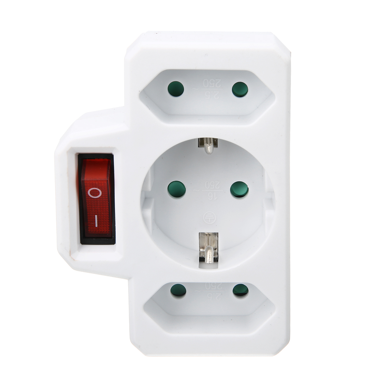 1pc 250V 16A 2 5A EU Plug Multiple Outlet Extension Socket Home Electronics Charging Electric Adapter With Switch in Electrical Socket Accessories from Home Improvement