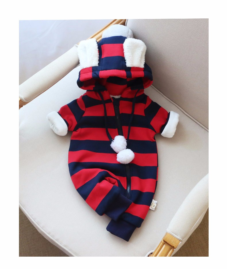 Baby girls boys winter striped rompers (11)
