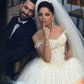 Bling Bling Con Cuentas vestido de Bola 2017 Vestidos de Boda de Tulle Ata para arriba volver Vestido De Novia de Novia de la Boda Vestidos de robe de mariage