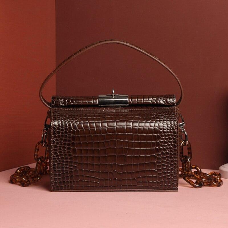 Burminsa Acrylic Strap Genuine Leather Bags Women Crocodile Shoulder Bags Unique Design Small Rectangle Box Female
