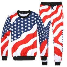 ee07e77138475 Los hombres de la bandera americana del patrón imprimir trajes de 2 piezas  conjunto hombre Hip