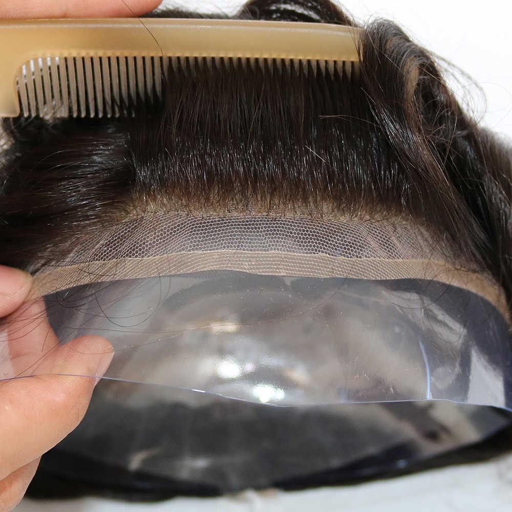 Eversilky Menschliches Haar Durable Haarteile Spitze Dünne PU Ersatz System Für Männer Toupets Menschliches Haar Durable Haarteile Spitze & PU