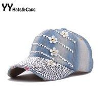 Brand New Flower Baseball Caps Woman Fashion Diamond Sports Hat Jeans Female Golf Cap 2015 Summer