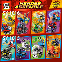 SY 1015/1016 Super Heroes The Avengers 8 Minifigs in 1 Set Mighty Micros Mini figure Compatible Marvel Building Blocks Toy