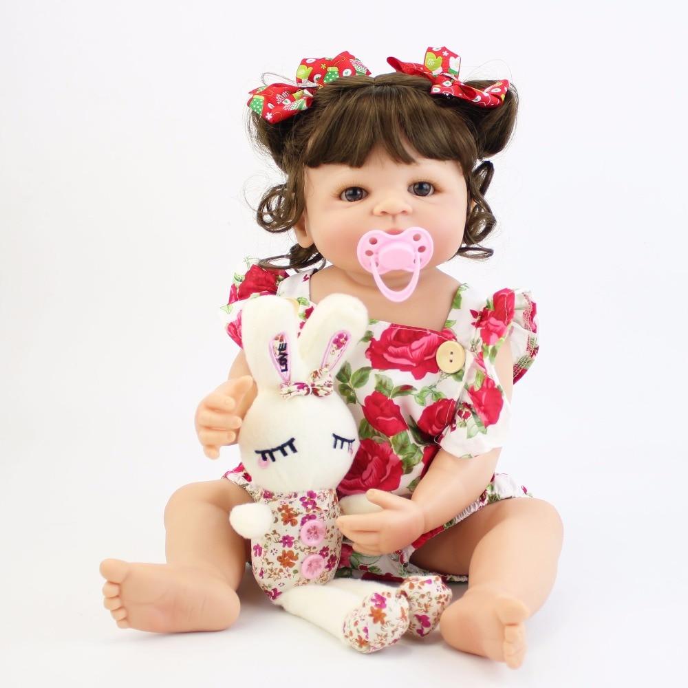 55 см полный силиконовые средства ухода за кожей Reborn Baby Doll Игрушки для девочек винил новорожденных принцесса Bebe купаться игрушка-компаньон п...