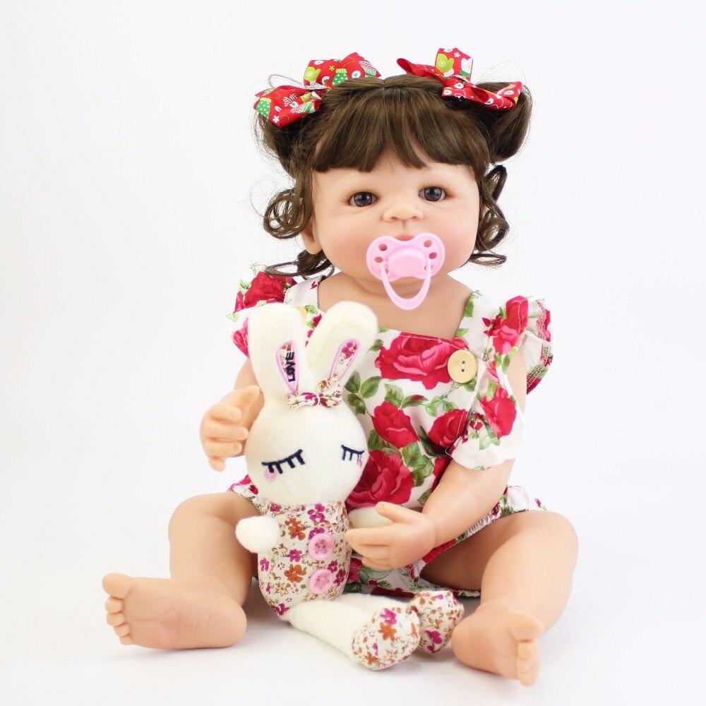 55 см полный силиконовый корпус возрождается детские игрушки куклы для девочек винил новорожденный принцессы младенцев Bebe купаться сопрово...