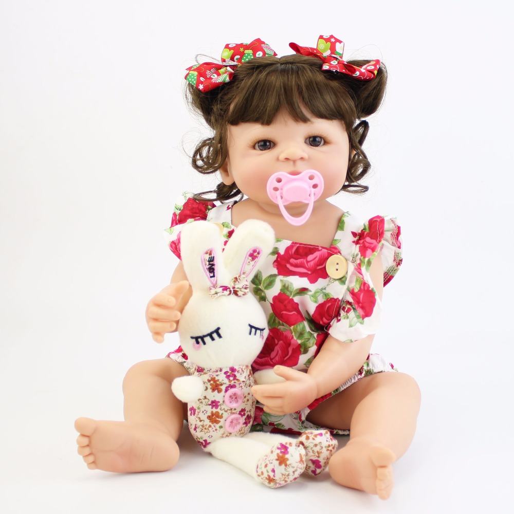 55 cm completo cuerpo de silicona bebé Reborn muñeca de juguete para chica vinilo recién nacido princesa bebés Bebe Baño de juguete regalo