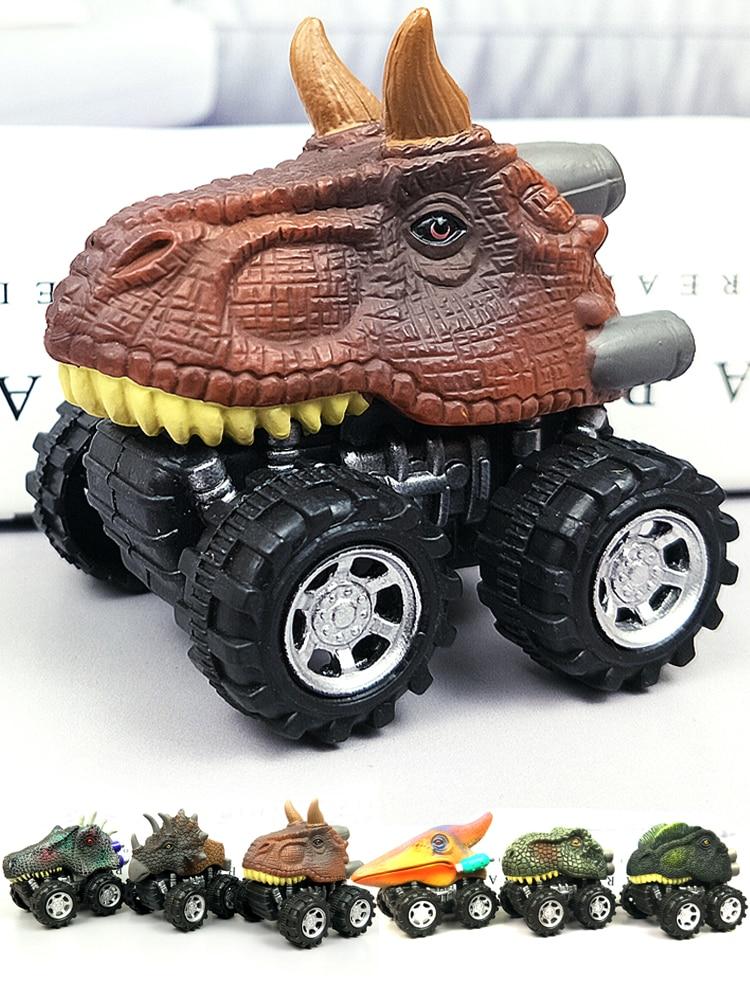 6 шт., 6 видов стилей, высокое качество, детский подарок на день, игрушка динозавр, модель мини-игрушечного автомобиля, задняя часть автомобиля, подарок, грузовик, хобби