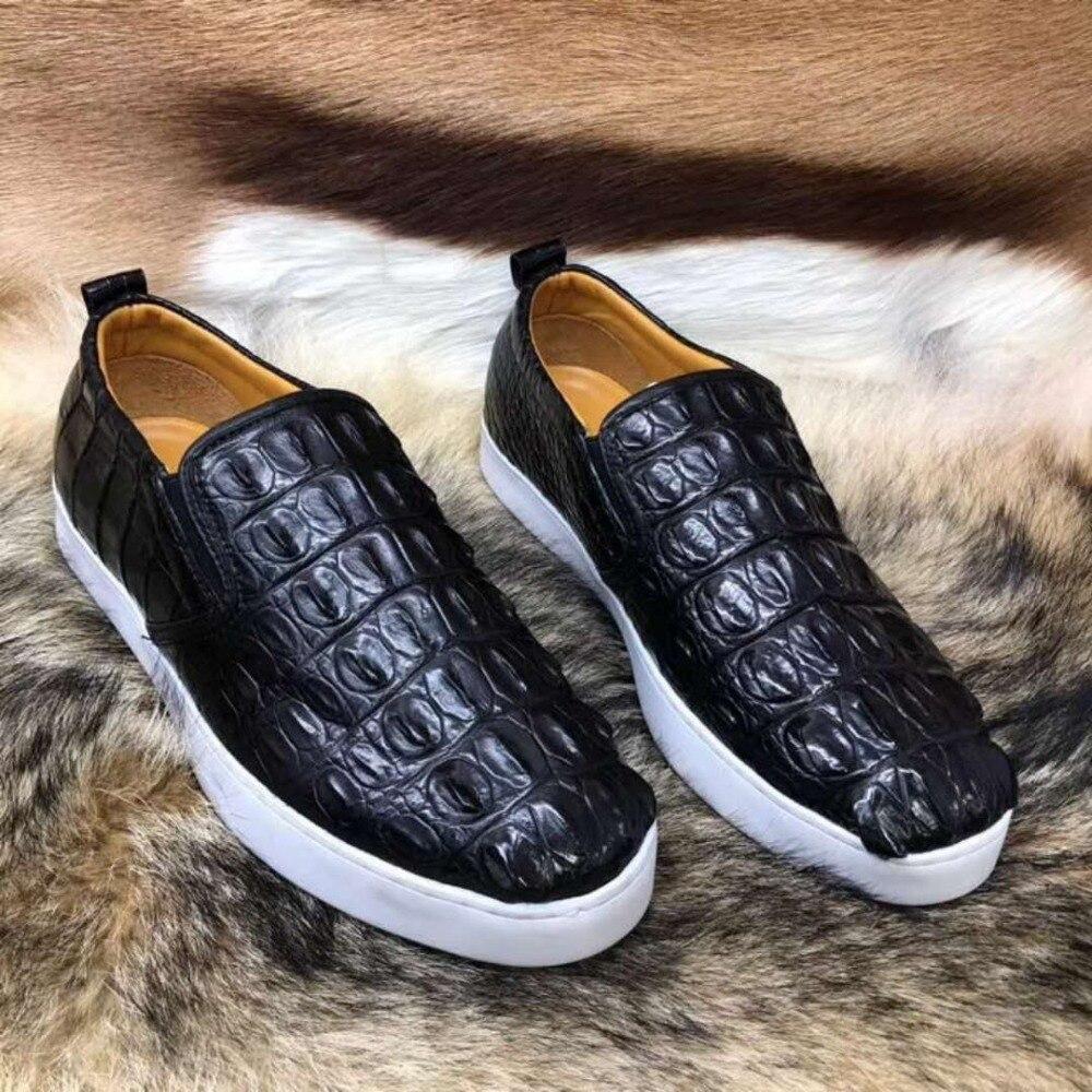 Top Sapato Cor Durável Moda Com 2018 Couro Preta Pele Qualidade Forro Sólida Genuína Da Crocodilo Homens De Genuíno RHwgqdza
