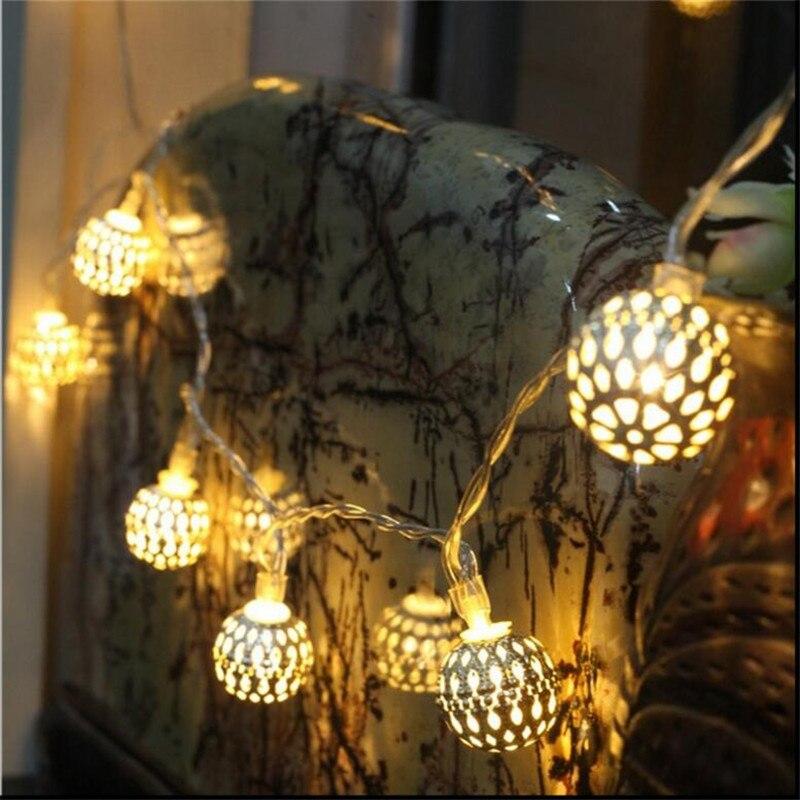 Батарея Powered Теплый Белый Свет Фея свет строка Круглый серебро железный шар декоративные веревки для Крытый Открытый