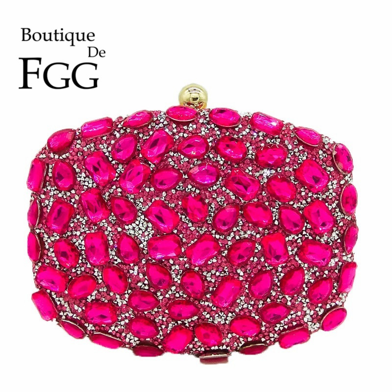 Fuchsia Pink Diamond Crystal Women Evening Cocktail Party Clutches Bags Wedding Dress Gold Handbag Purse Bridal Metal Clutch Bag ladies wedding dress bridal crystal clutch bag women diamond dinner banquet evening purse silver metal clutches smyzh f0300