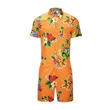 Мужские летние комбинезоны с коротким рукавом с оранжевым цветочным принтом Мужской комбинезон одноб